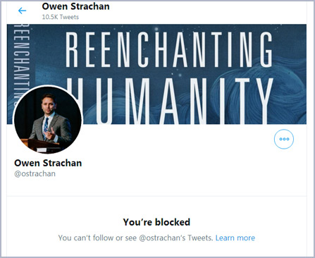 Screen Capture: Blocked by Owen Strachan